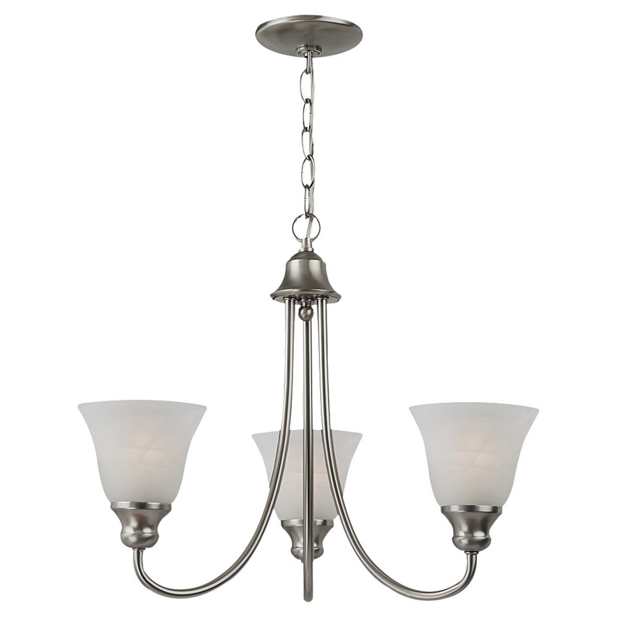 Sea Gull 35939BLE-962 Windgate 3 Light 20 inch Brushed Nickel Chandelier Ceiling Light in Fluorescent photo