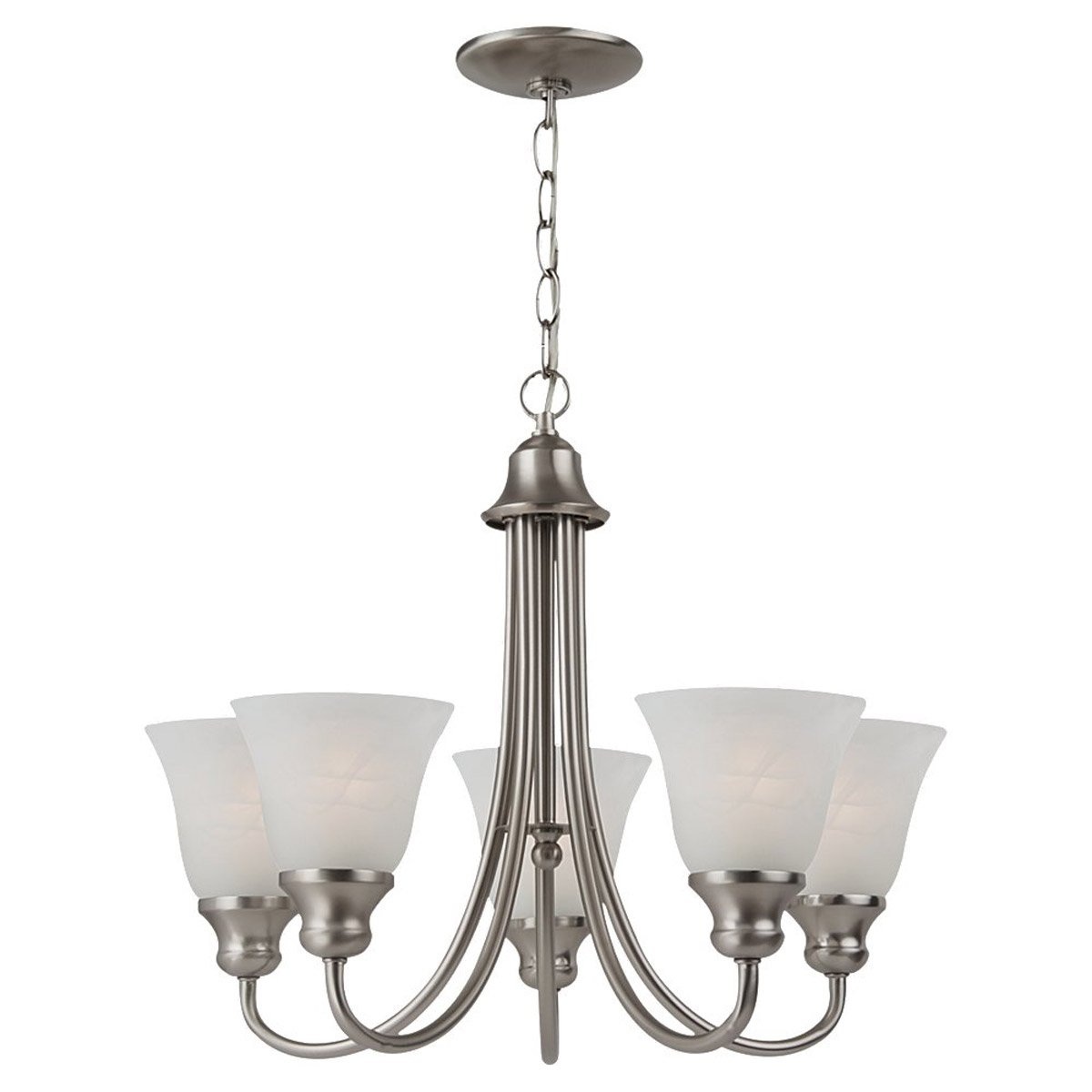 Sea Gull 35940BLE-962 Windgate 5 Light 20 inch Brushed Nickel Chandelier Ceiling Light in Fluorescent photo