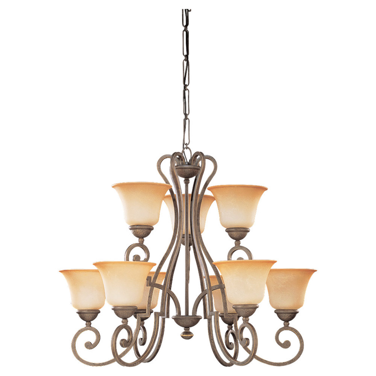 Sea Gull Lighting Brandywine 9 Light Chandelier in Antique Bronze 39033BLE-71