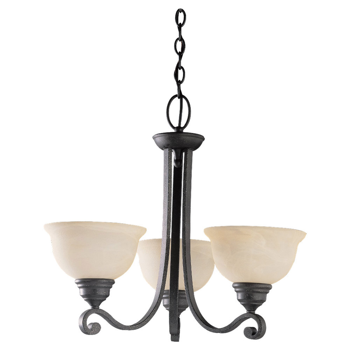 Sea Gull Lighting Serenity 3 Light Chandelier in Weathered Iron 39058BLE-07 photo
