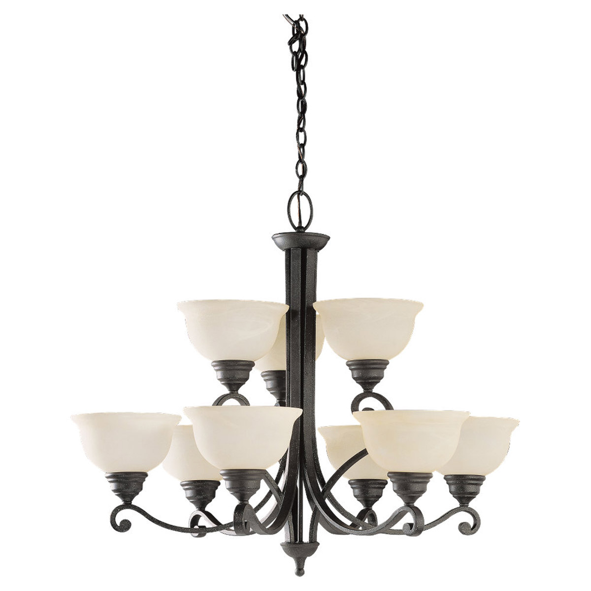 Sea Gull Lighting Serenity 9 Light Chandelier in Weathered Iron 39060BLE-07 photo