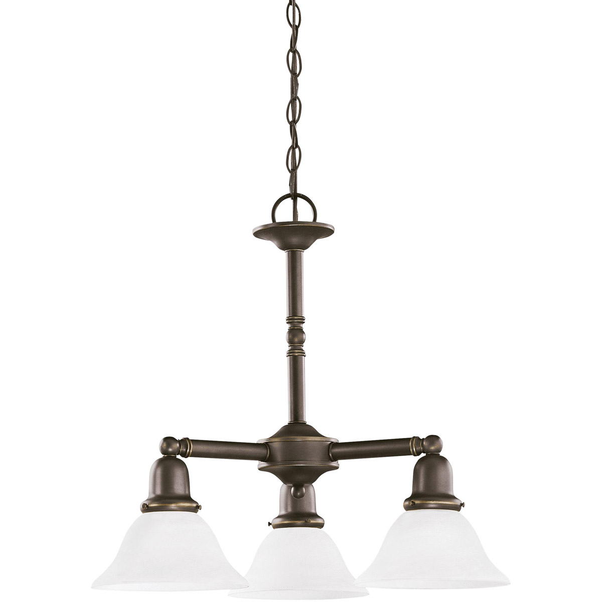 Sea Gull 39061BLE-782 Sussex 3 Light 22 inch Heirloom Bronze Chandelier Ceiling Light in Satin Etched Glass photo