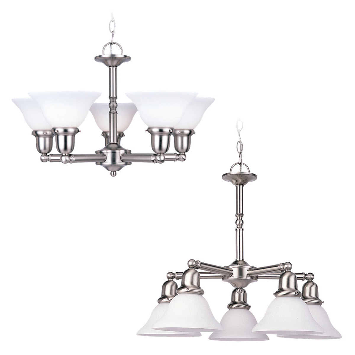 Sea Gull 39062BLE-962 Sussex 5 Light 24 inch Brushed Nickel Chandelier Ceiling Light in Satin White Glass photo