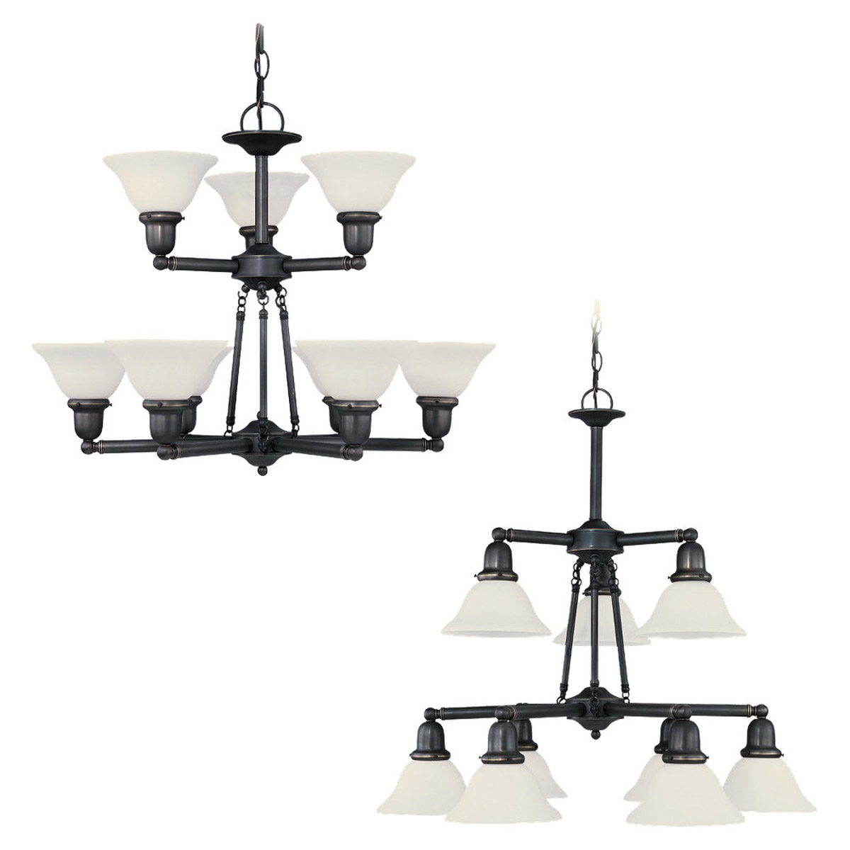 Sea Gull 39063BLE-782 Sussex 9 Light 30 inch Heirloom Bronze Chandelier Ceiling Light in Satin Etched Glass photo