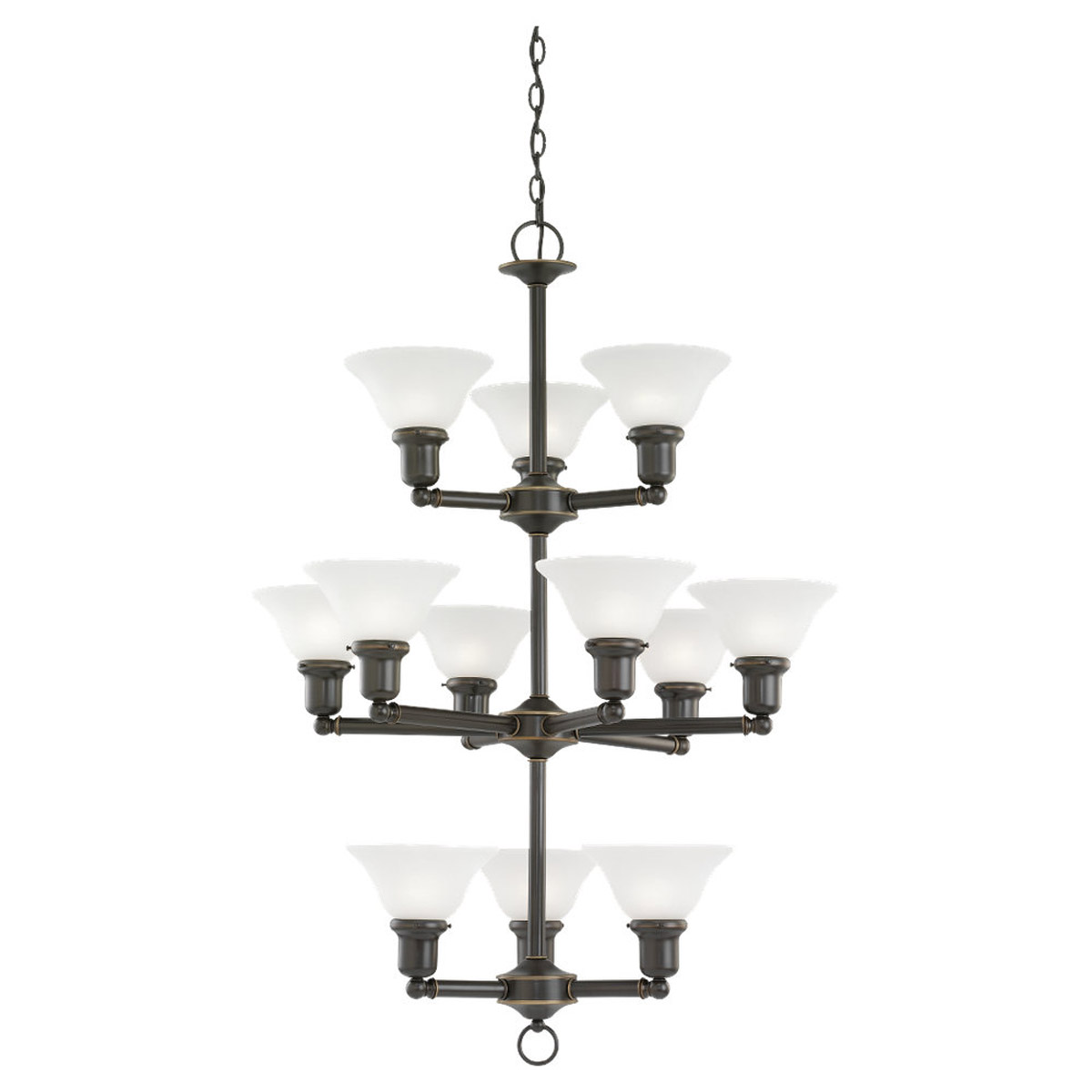 Sea Gull Lighting Sussex 12 Light Chandelier in Heirloom Bronze 39064BLE-782