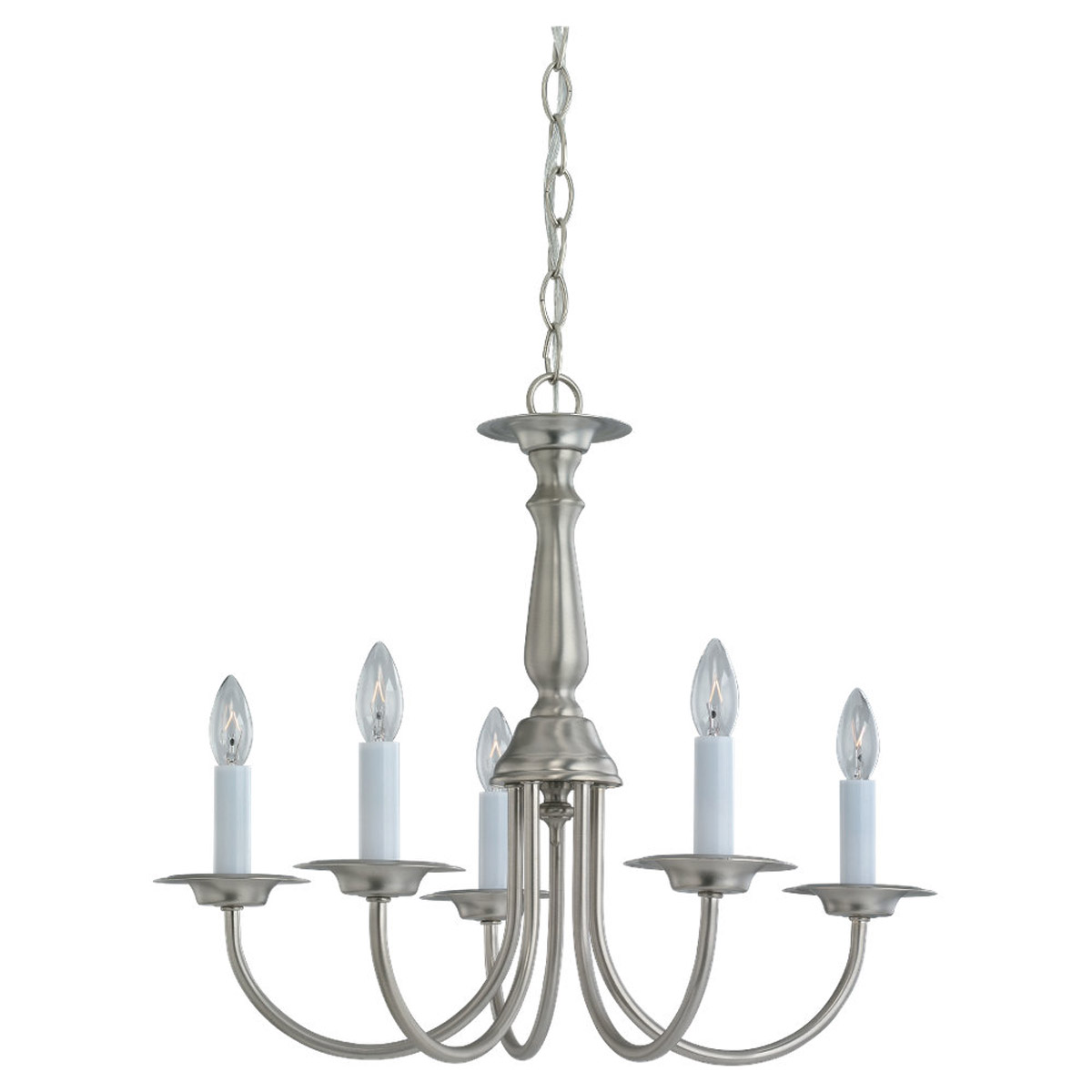 Sea Gull 3916-962 Traditional 5 Light 19 inch Brushed Nickel Chandelier Ceiling Light photo