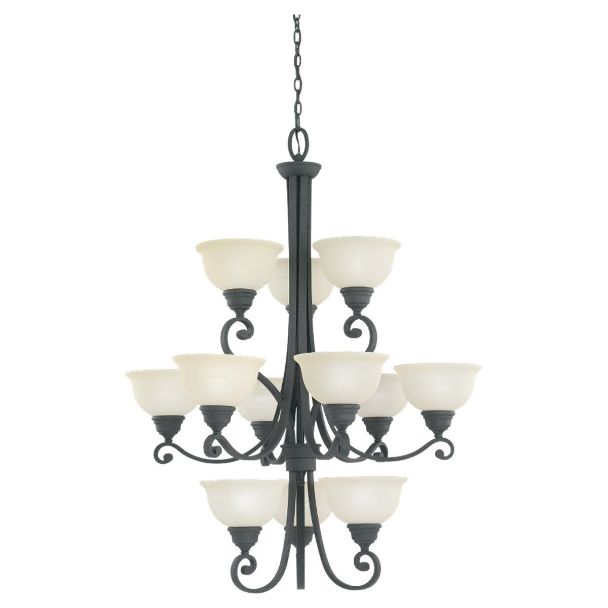 Sea Gull Lighting Serenity 12 Light Fluorescent Chandelier in Weathered Iron 39260BLE-07 photo