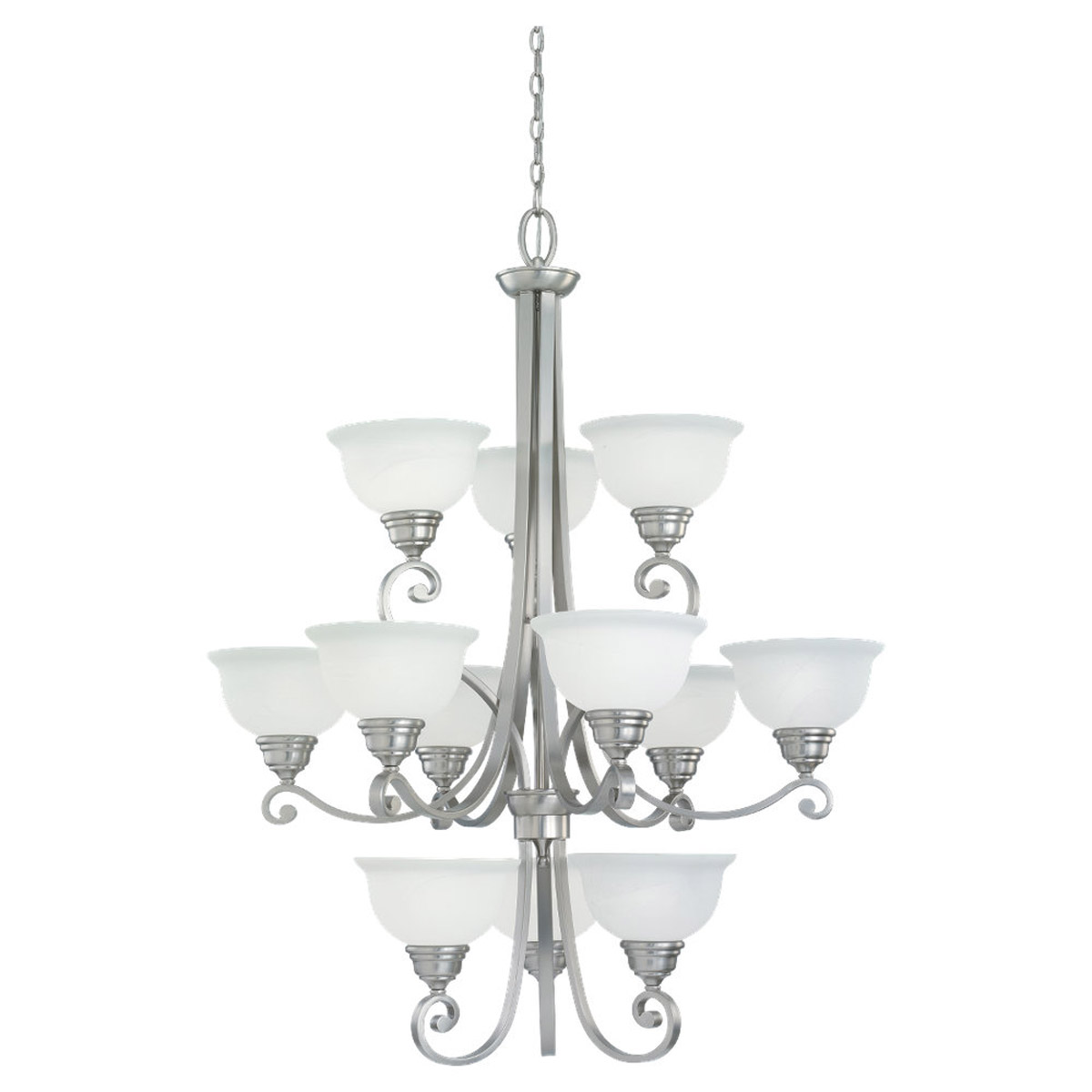 Sea Gull Lighting Serenity 12 Light Fluorescent Chandelier in Brushed Nickel 39260BLE-962