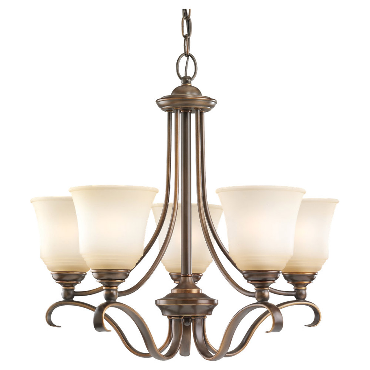 Sea Gull 39380BLE-829 Parkview 5 Light 24 inch Russet Bronze Chandelier Ceiling Light in Ginger Glass photo