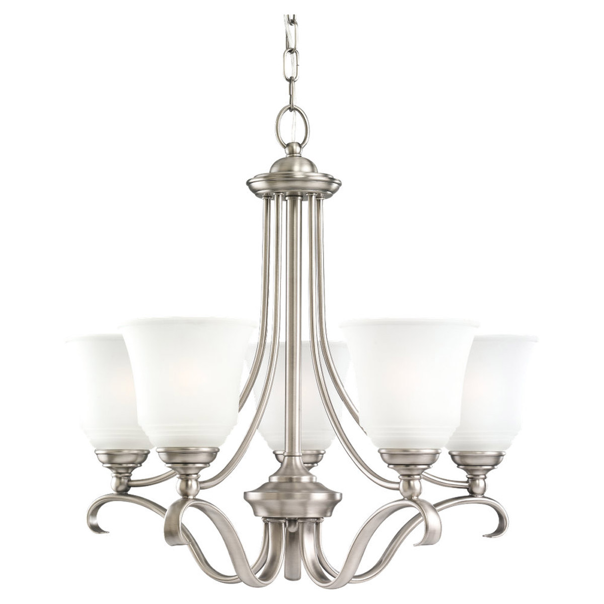 Sea Gull 39380BLE-965 Parkview 5 Light 24 inch Antique Brushed Nickel Chandelier Ceiling Light in Satin Etched Glass photo
