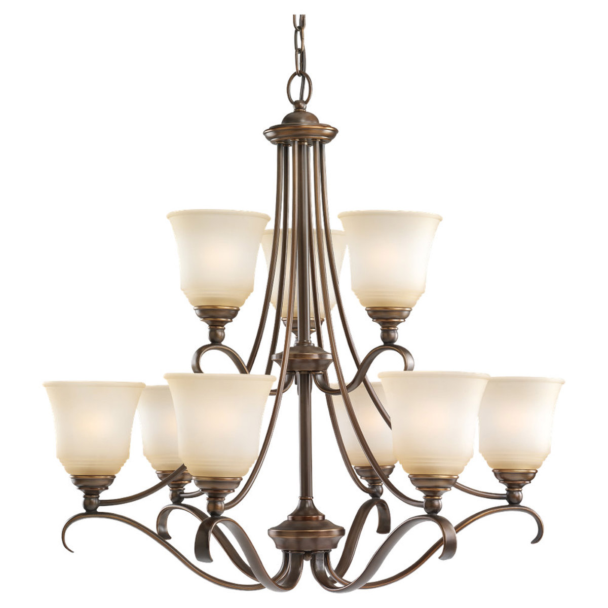 Sea Gull 39381BLE-829 Parkview 9 Light 31 inch Russet Bronze Chandelier Ceiling Light in Ginger Glass photo
