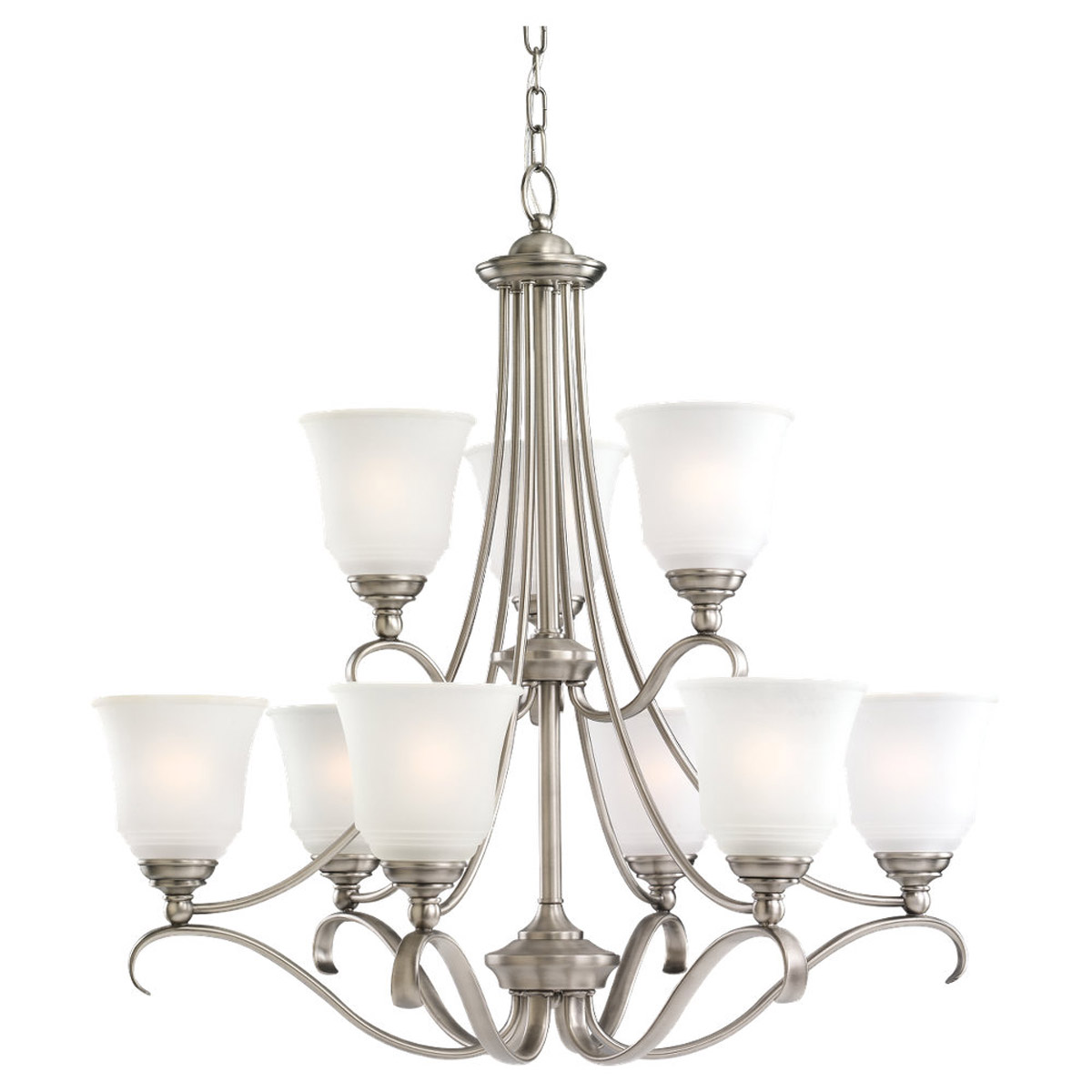 Sea Gull 39381BLE-965 Parkview 9 Light 31 inch Antique Brushed Nickel Chandelier Ceiling Light in Satin Etched Glass photo