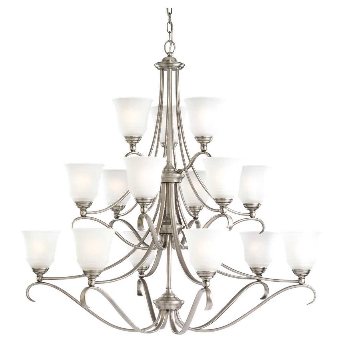Sea Gull 39382BLE-965 Parkview 15 Light 43 inch Antique Brushed Nickel Chandelier Ceiling Light in Satin Etched Glass photo