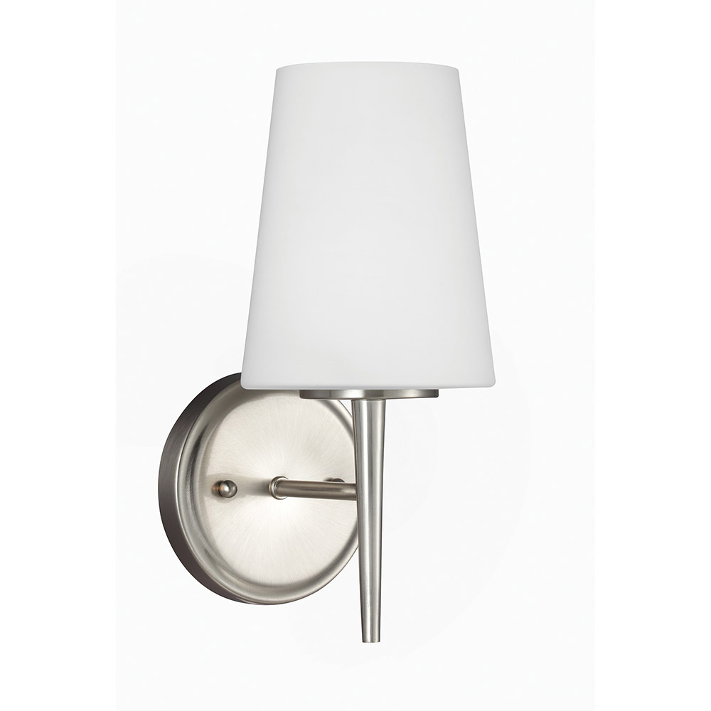 Sea Gull 4140401 962 Driscoll 1 Light 5 Inch Brushed Nickel Bath Sconce  Wall Light In Standard