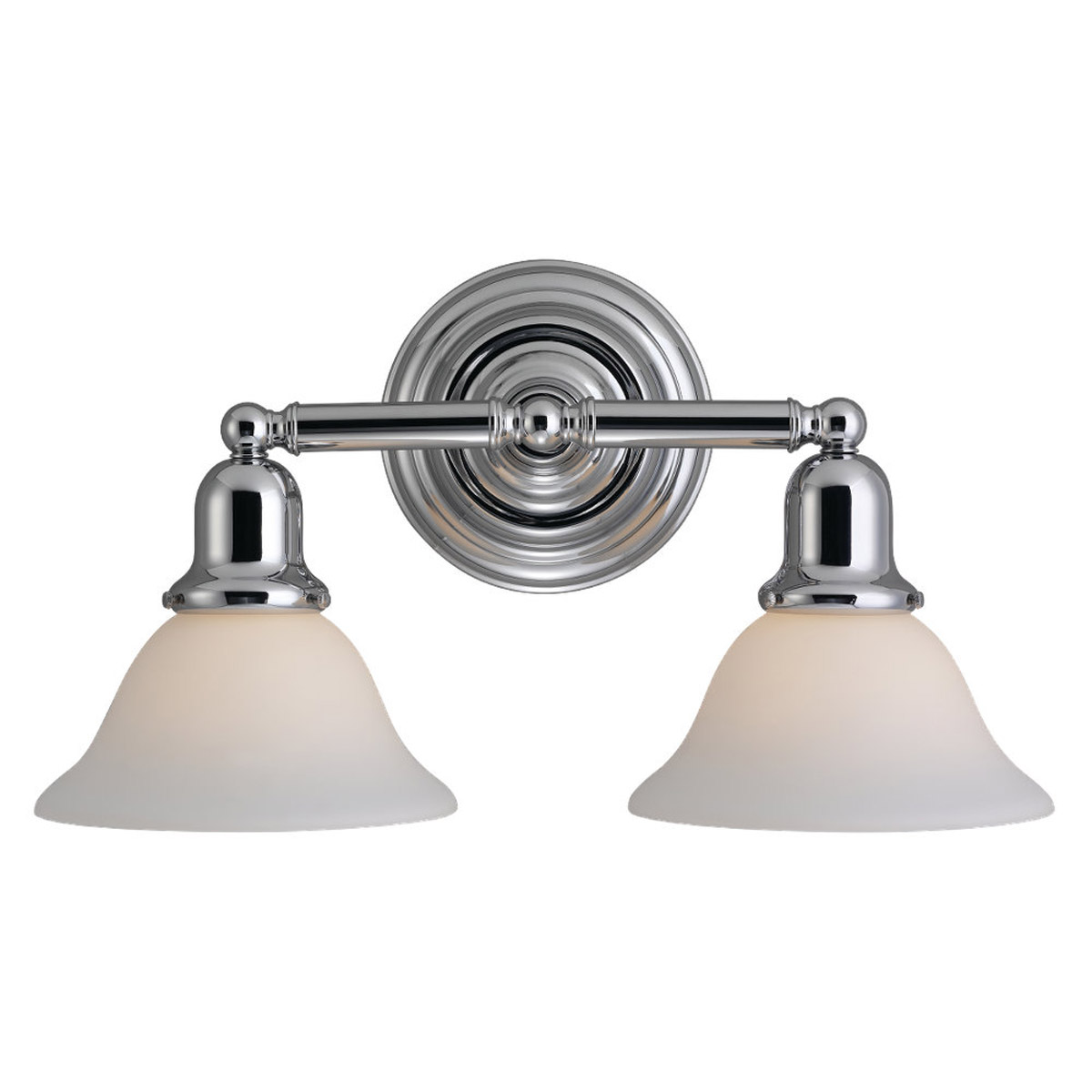 Sea Gull 44061-05 Sussex 2 Light 18 inch Chrome Bath Vanity Wall Light in Satin White Glass photo