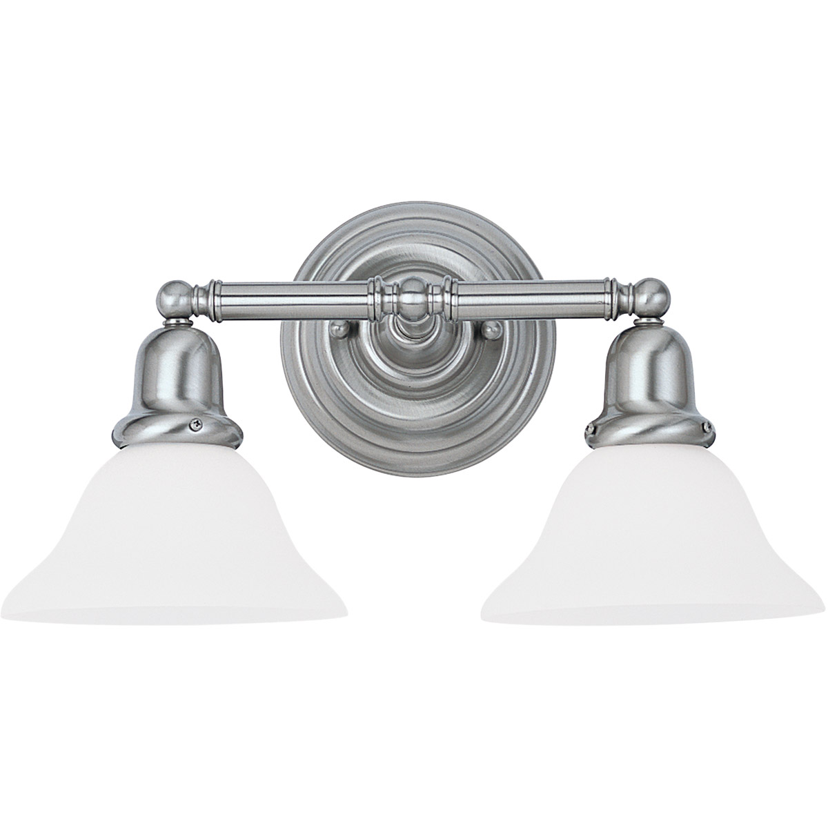 Sea Gull 44061-962 Sussex 2 Light 18 inch Brushed Nickel Bath Vanity Wall Light in Satin White Glass photo