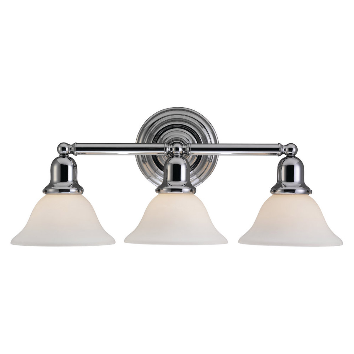 Sea Gull 44062-05 Sussex 3 Light 24 inch Chrome Bath Vanity Wall Light in Satin White Glass photo