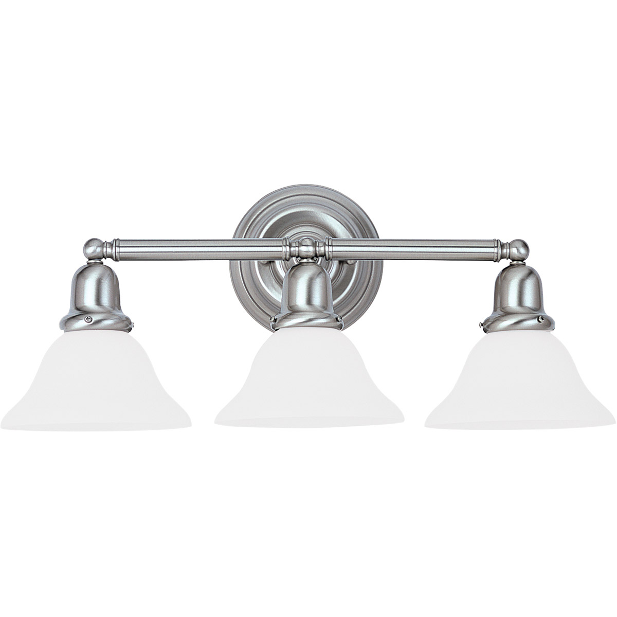 Sea Gull 44062-962 Sussex 3 Light 24 inch Brushed Nickel Bath Vanity Wall Light in Satin White Glass photo