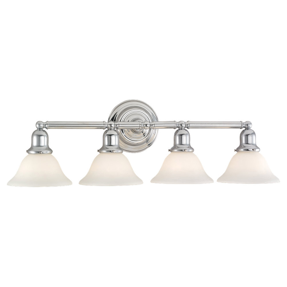 Sea Gull 44063-05 Sussex 4 Light 32 inch Chrome Bath Vanity Wall Light in Satin White Glass photo