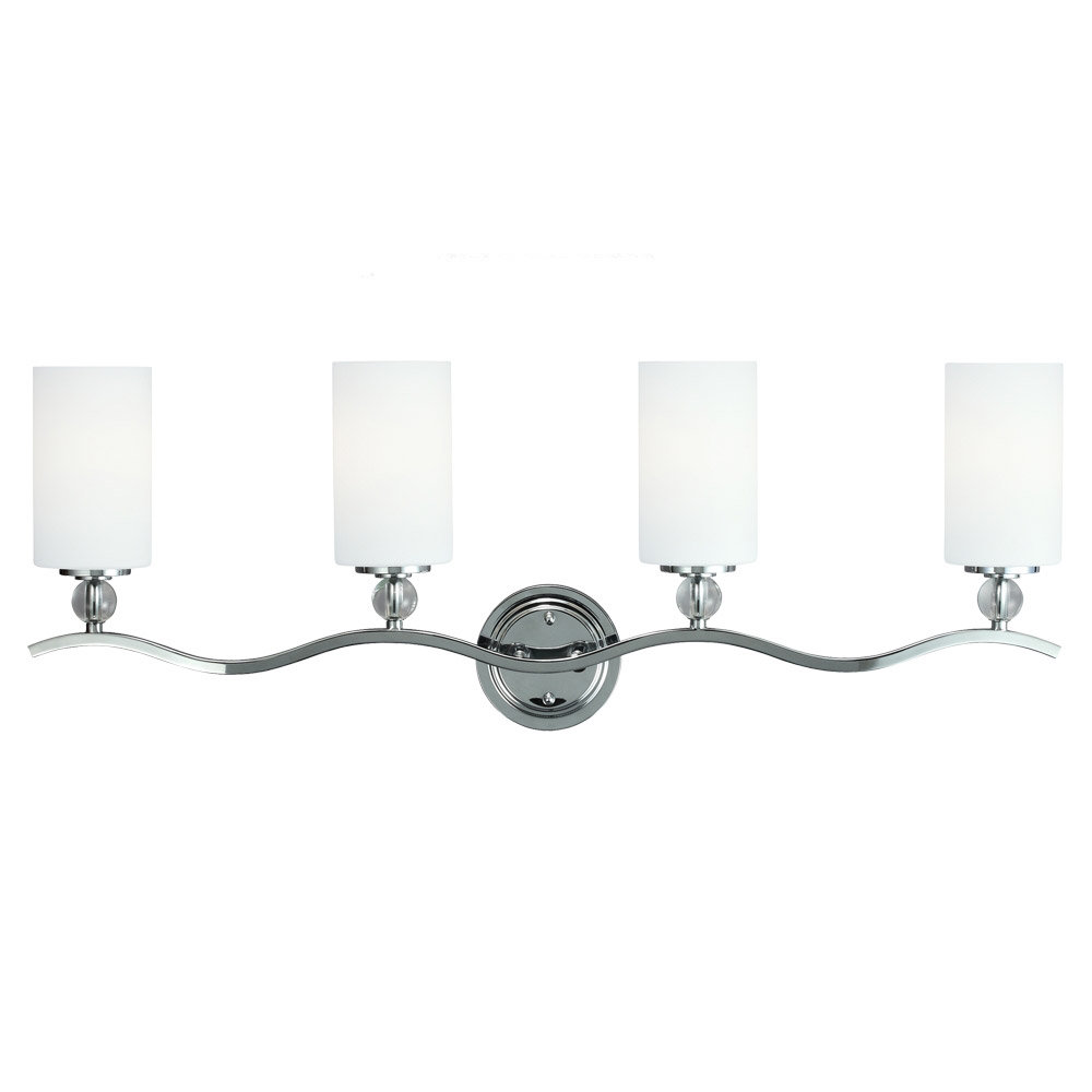 Sea Gull 4413404BLE-05 Englehorn 4 Light 35 inch Chrome / Optic Crystal Bath Vanity Wall Light in Fluorescent photo