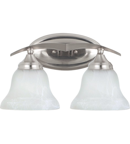 Sea Gull 44175BLE-962 Brockton 2 Light 16 inch Brushed Nickel Bath Light Wall Light in Etched White Alabaster Glass, Fluorescent photo