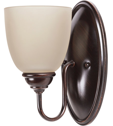 Sea Gull 44316BLE-710 Lemont 1 Light 5 inch Burnt Sienna Wall Sconce Wall Light in Cafe Tint Glass, Fluorescent photo