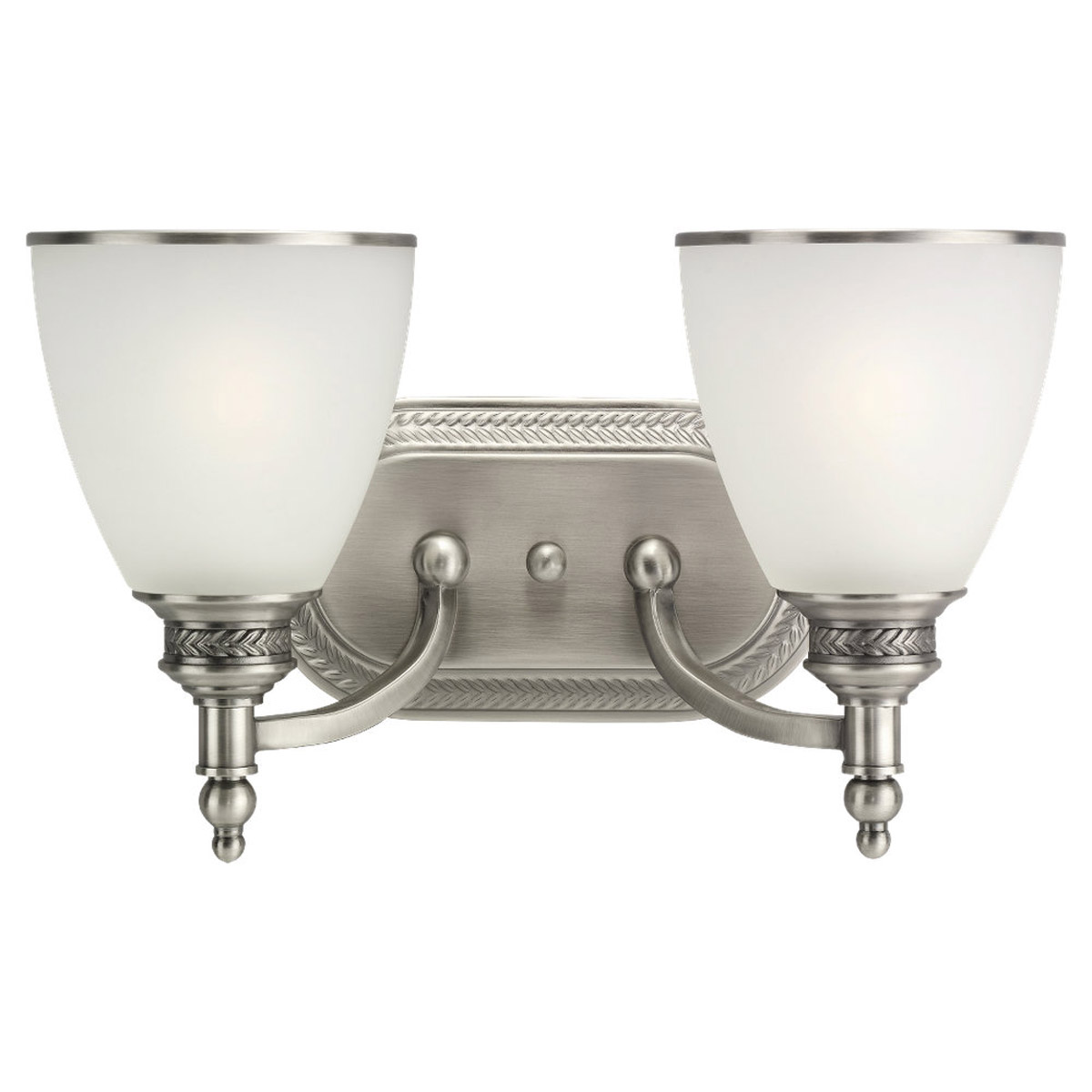 Sea Gull Lighting Laurel Leaf 2 Light Bath Vanity in Antique Brushed Nickel 44350-965
