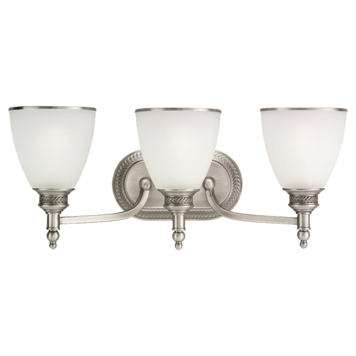 Sea Gull 44351-965 Laurel Leaf 3 Light 22 inch Antique Brushed Nickel Bath Vanity Wall Light photo