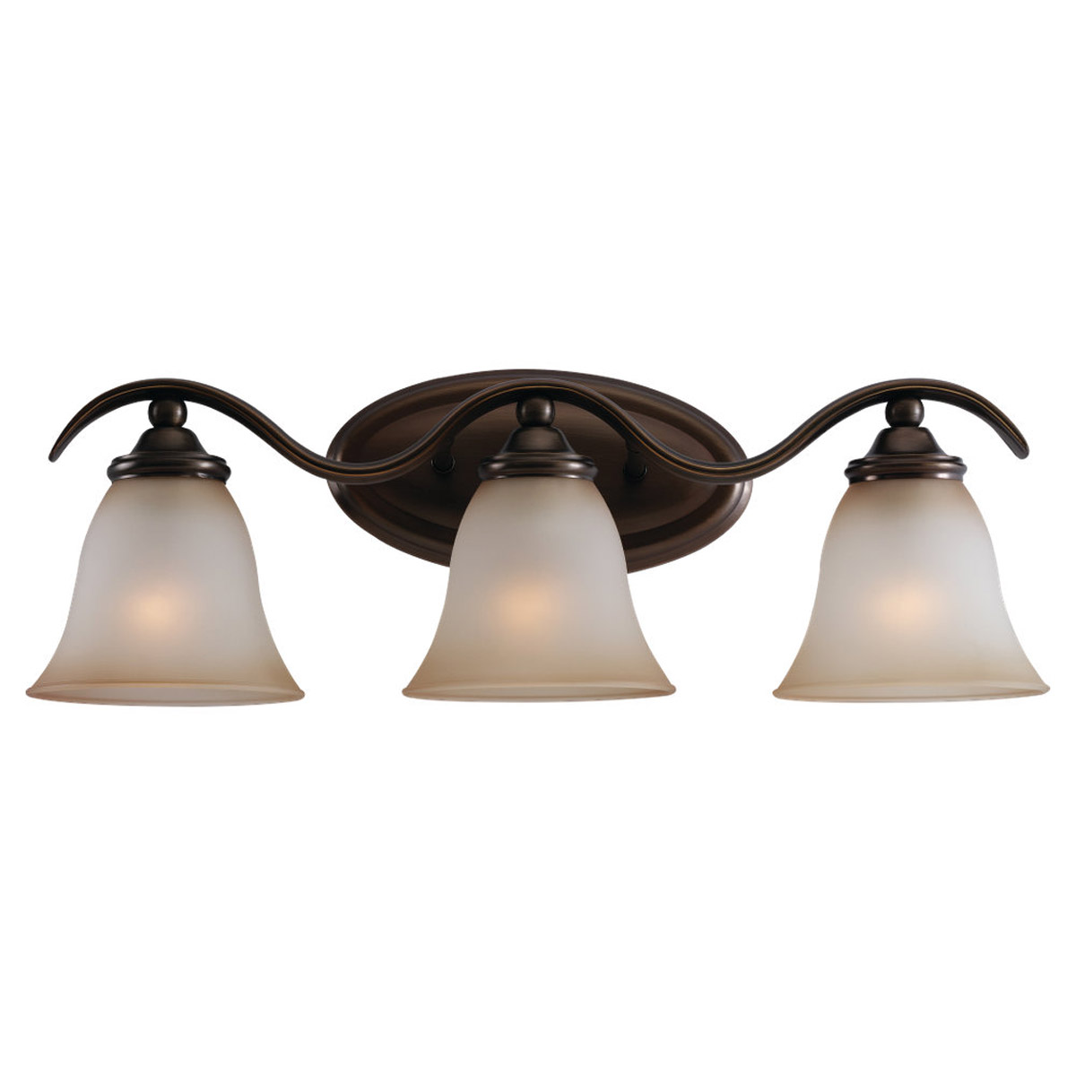 Sea Gull 44361-829 Rialto 3 Light 22 inch Russet Bronze Bath Vanity Wall Light in Ginger Glass photo