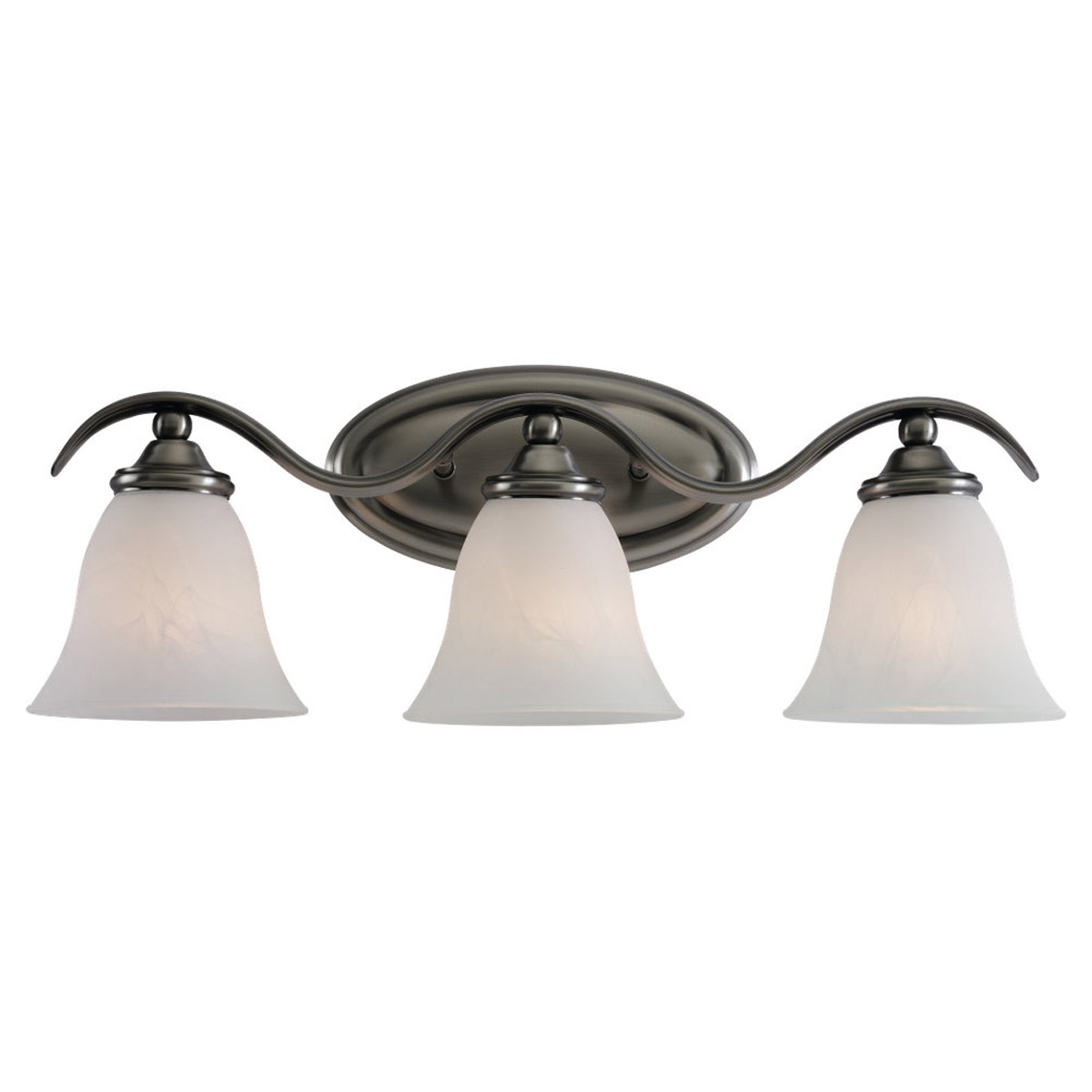 Sea Gull 44361-965 Rialto 3 Light 22 inch Antique Brushed Nickel Bath Vanity Wall Light in Etched White Alabaster Glass photo