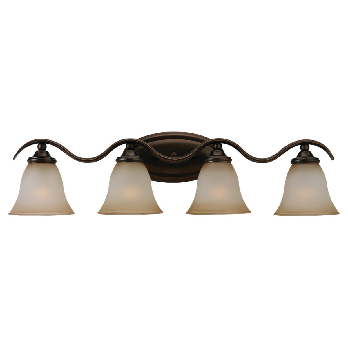 Sea Gull 44362-829 Rialto 4 Light 30 inch Russet Bronze Bath Vanity Wall Light in Ginger Glass photo