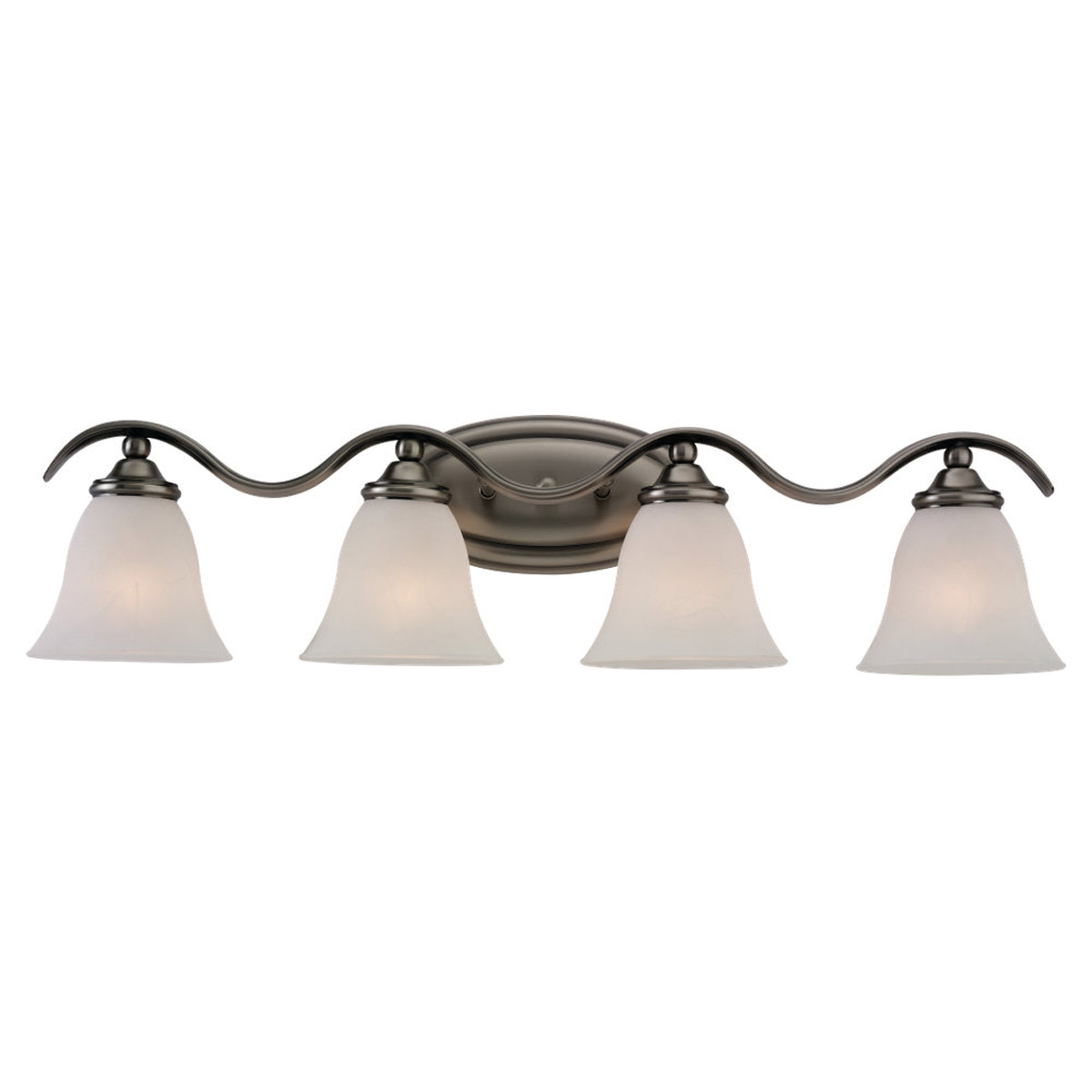 Sea Gull 44362-965 Rialto 4 Light 30 inch Antique Brushed Nickel Bath Vanity Wall Light in Etched White Alabaster Glass photo
