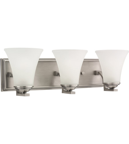Sea Gull 44376-965 Somerton 3 Light 22 inch Antique Brushed Nickel Bath Vanity Wall Light in Satin Etched Glass, Standard photo