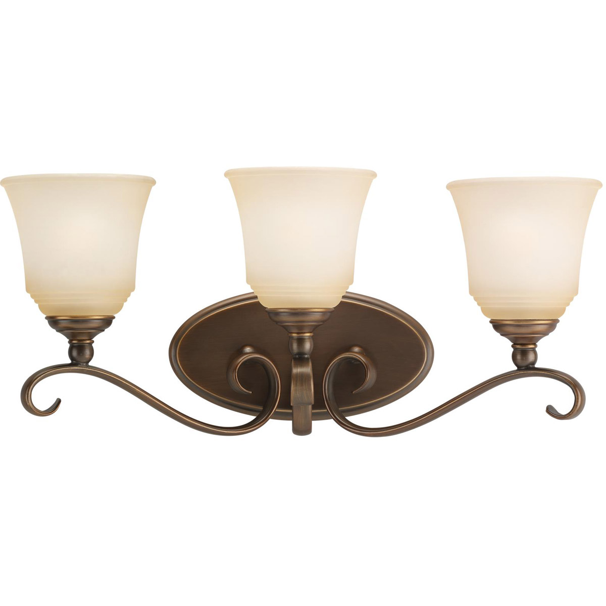 Sea Gull 44381-829 Parkview 3 Light 23 inch Russet Bronze Bath Vanity Wall Light in Ginger Glass photo
