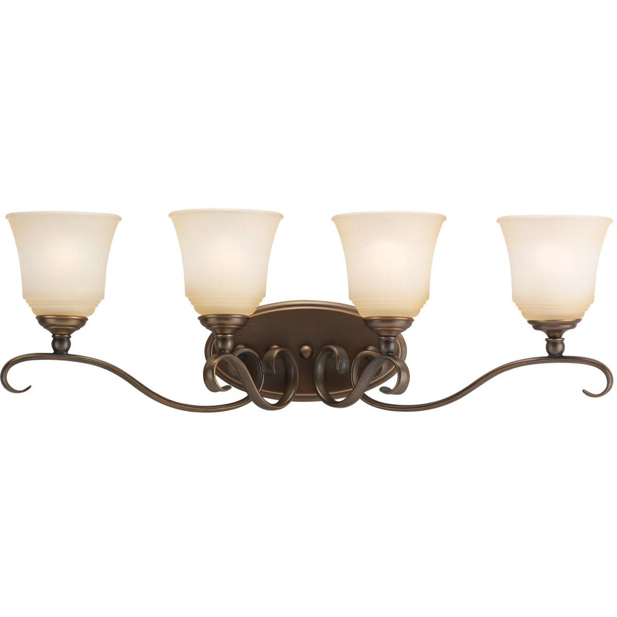Sea Gull 44382-829 Parkview 4 Light 32 inch Russet Bronze Bath Vanity Wall Light in Ginger Glass photo