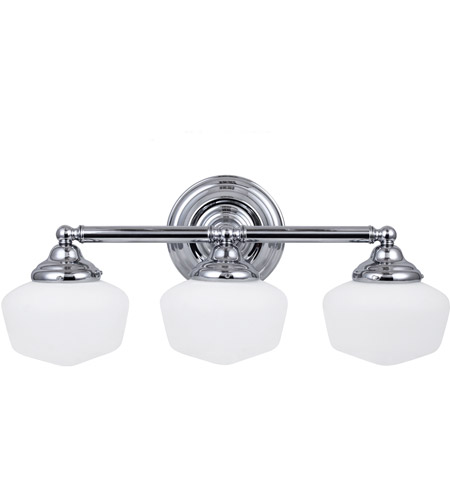 Academy Three Light Wall/Bath in Chrome with Satin White Schoolhouse Glass