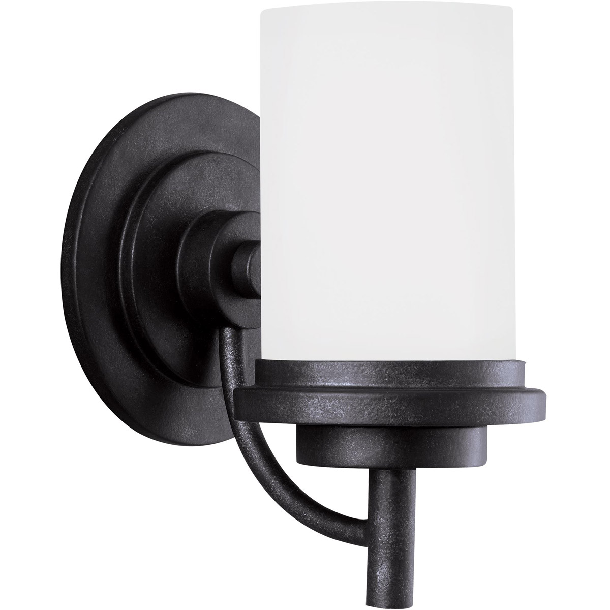 Sea Gull 44660-839 Winnetka 1 Light 6 inch Blacksmith Bath Vanity Wall Light in Satin Etched Glass, Standard photo