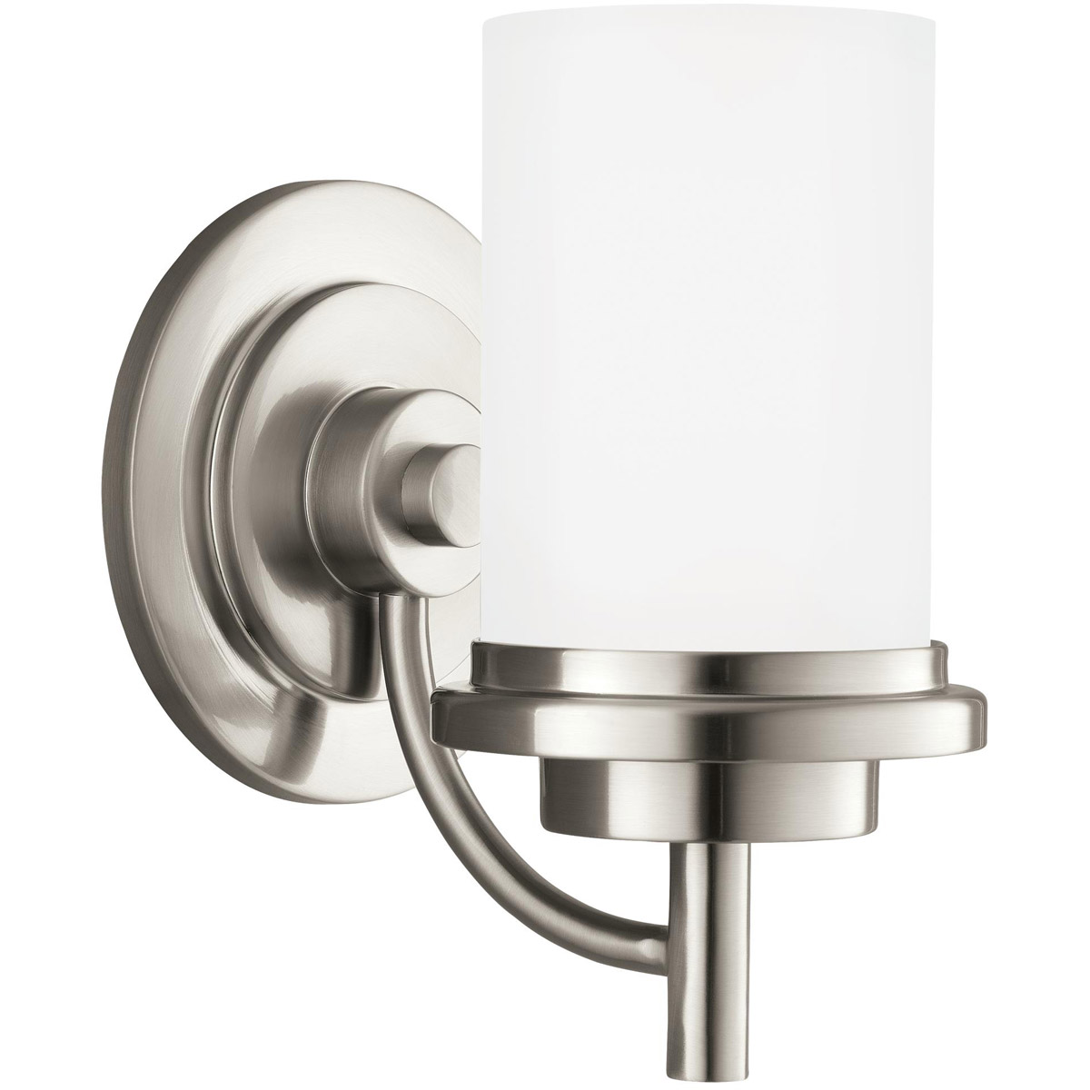 Sea Gull 44660-962 Winnetka 1 Light 6 inch Brushed Nickel Bath Vanity Wall Light in Satin Etched Glass, Standard photo
