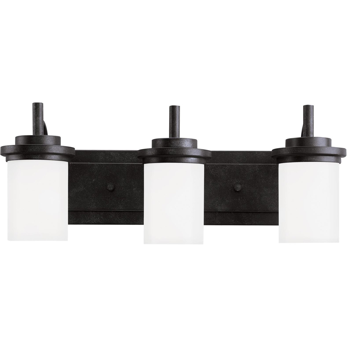 Sea Gull 44662-839 Winnetka 3 Light 23 inch Blacksmith Bath Vanity Wall Light in Satin Etched Glass, Standard photo