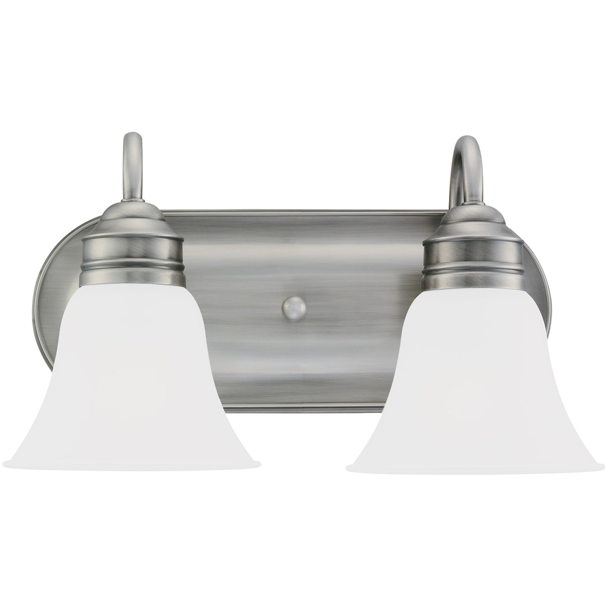 Sea Gull 44851-965 Gladstone 2 Light 15 inch Antique Brushed Nickel Bath Vanity Wall Light in Satin Etched Glass photo