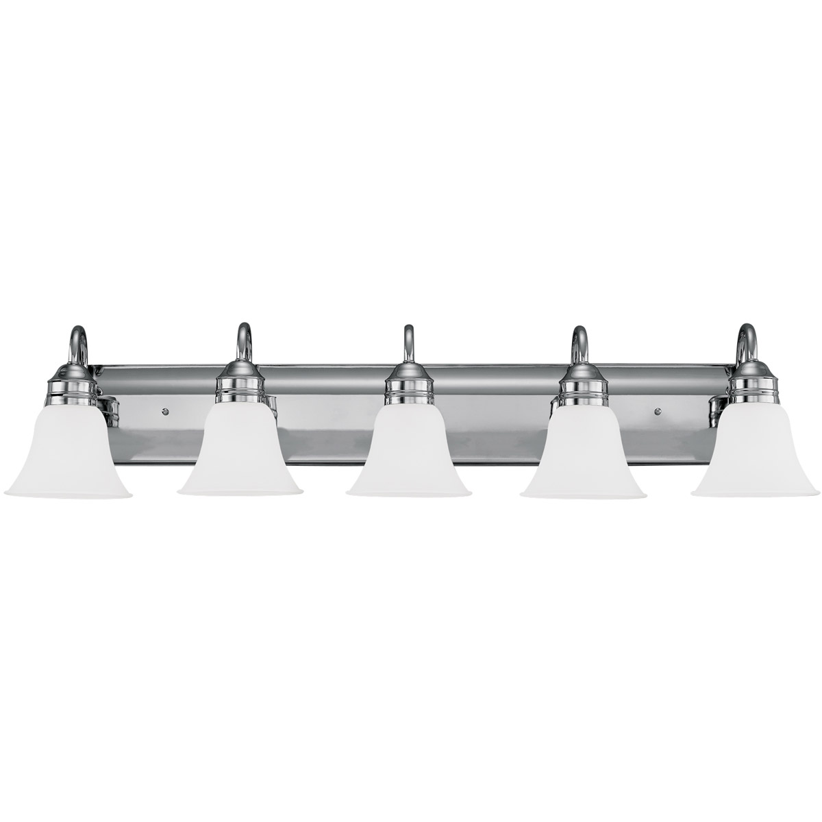 Sea Gull 44854-05 Gladstone 5 Light 41 inch Chrome Bath Vanity Wall Light in Satin Etched Glass, Standard photo
