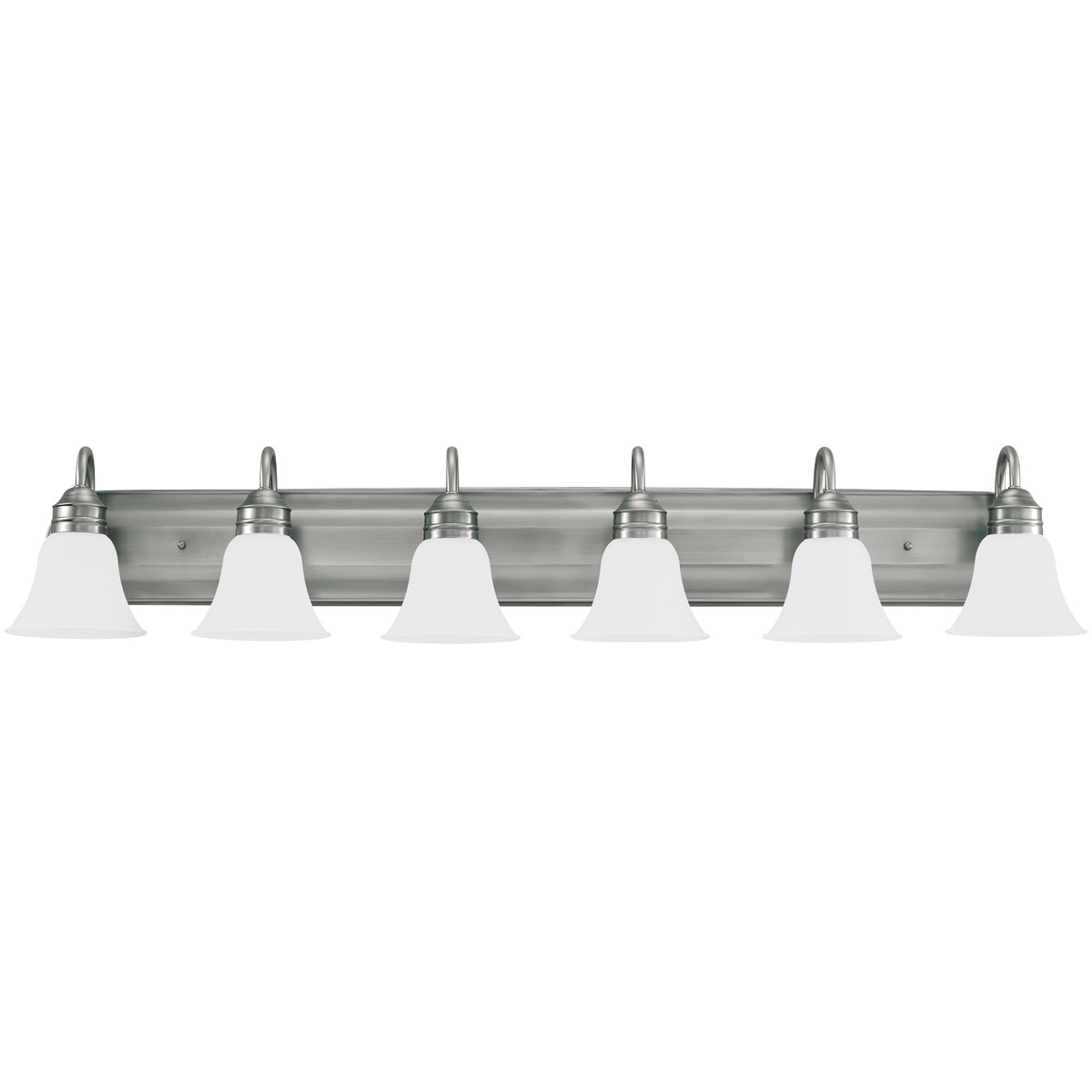 Gladstone 6 Light 50 Inch Antique Brushed Nickel Bath Vanity Wall Light In Satin Etched Glass