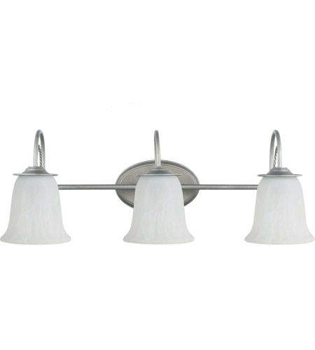 Sea Gull 44893-57 Plymouth 3 Light 27 inch Weathered Pewter Bath Light Wall Light in Standard photo