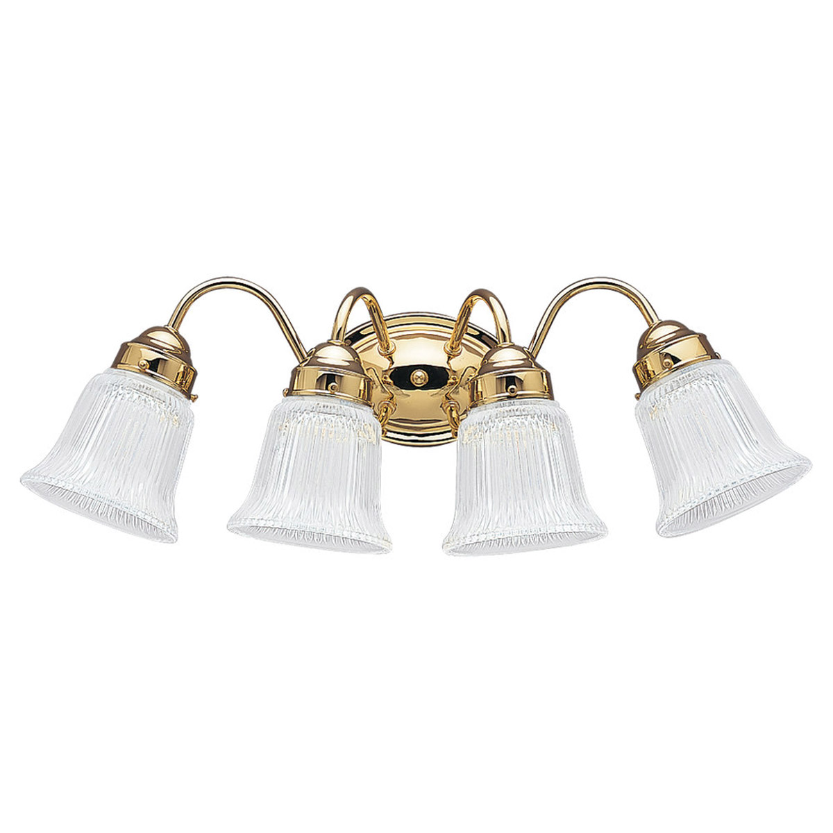 Sea Gull 4873-02 Brookchester 4 Light 21 inch Polished Brass Bath Vanity Wall Light in Clear Ribbed photo