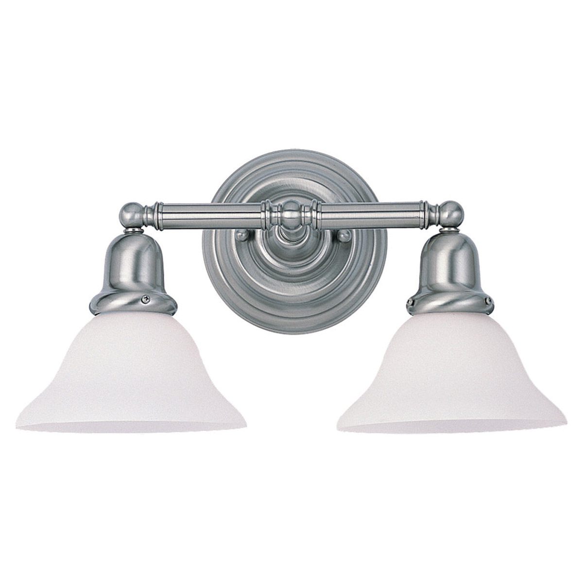 Sea Gull 49065BLE-962 Sussex 2 Light 18 inch Brushed Nickel Bath Vanity Wall Light in Satin White Glass photo