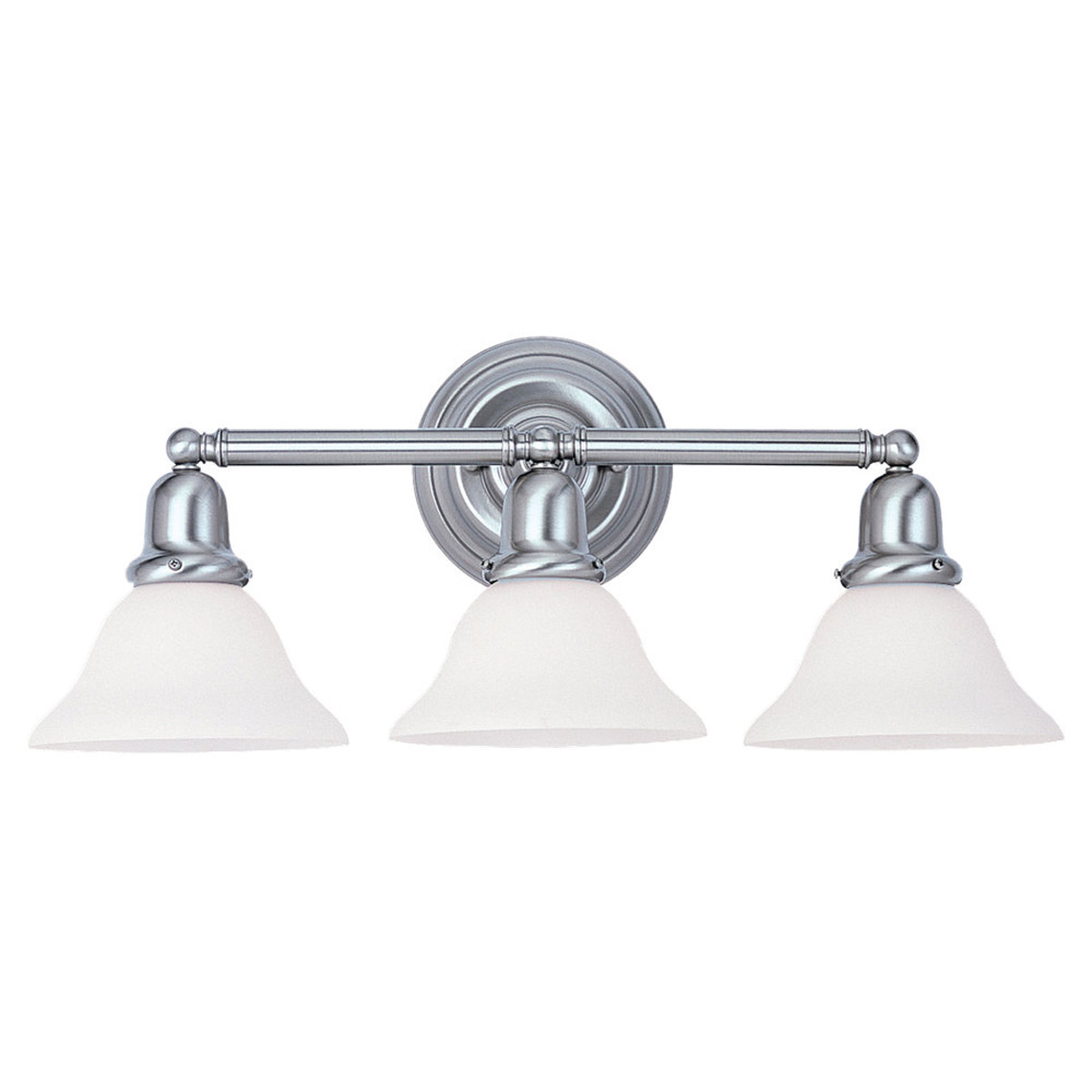 Sea Gull 49066BLE-962 Sussex 3 Light 24 inch Brushed Nickel Bath Vanity Wall Light in Satin White Glass photo