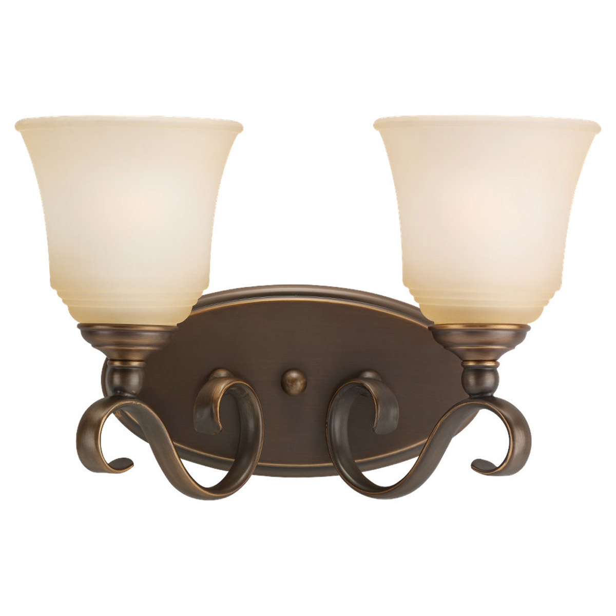 Sea Gull 49381BLE-829 Parkview 2 Light 15 inch Russet Bronze Bath Vanity Wall Light in Ginger Glass photo