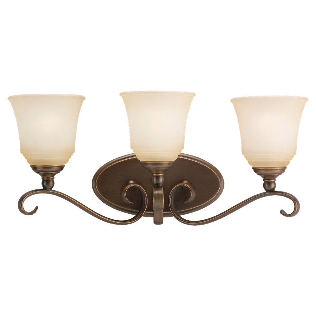 Sea Gull 49382BLE-829 Parkview 3 Light 23 inch Russet Bronze Bath Vanity Wall Light in Ginger Glass photo