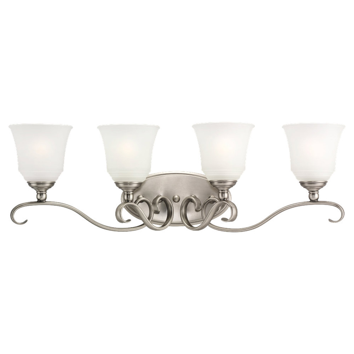 Sea Gull 49383BLE-965 Parkview 4 Light 32 inch Antique Brushed Nickel Bath Vanity Wall Light in Satin Etched Glass photo