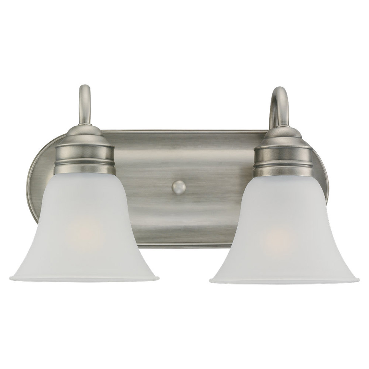 Sea Gull 49851BLE-965 Gladstone 2 Light 15 inch Antique Brushed Nickel Bath Vanity Wall Light in Satin Etched Glass photo